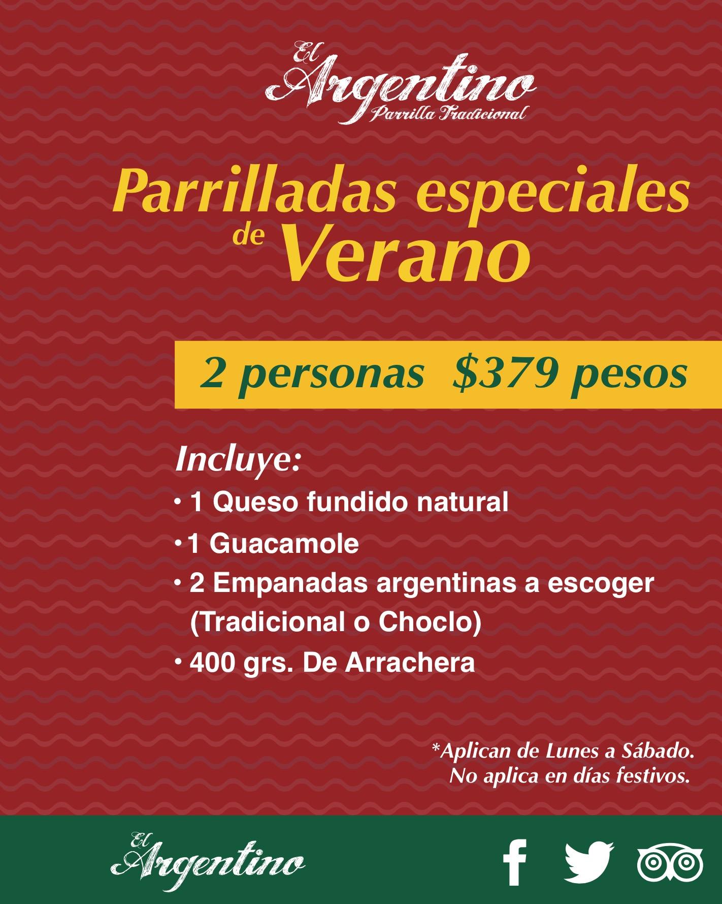 PARRILLADAS DE VERANO 2personas