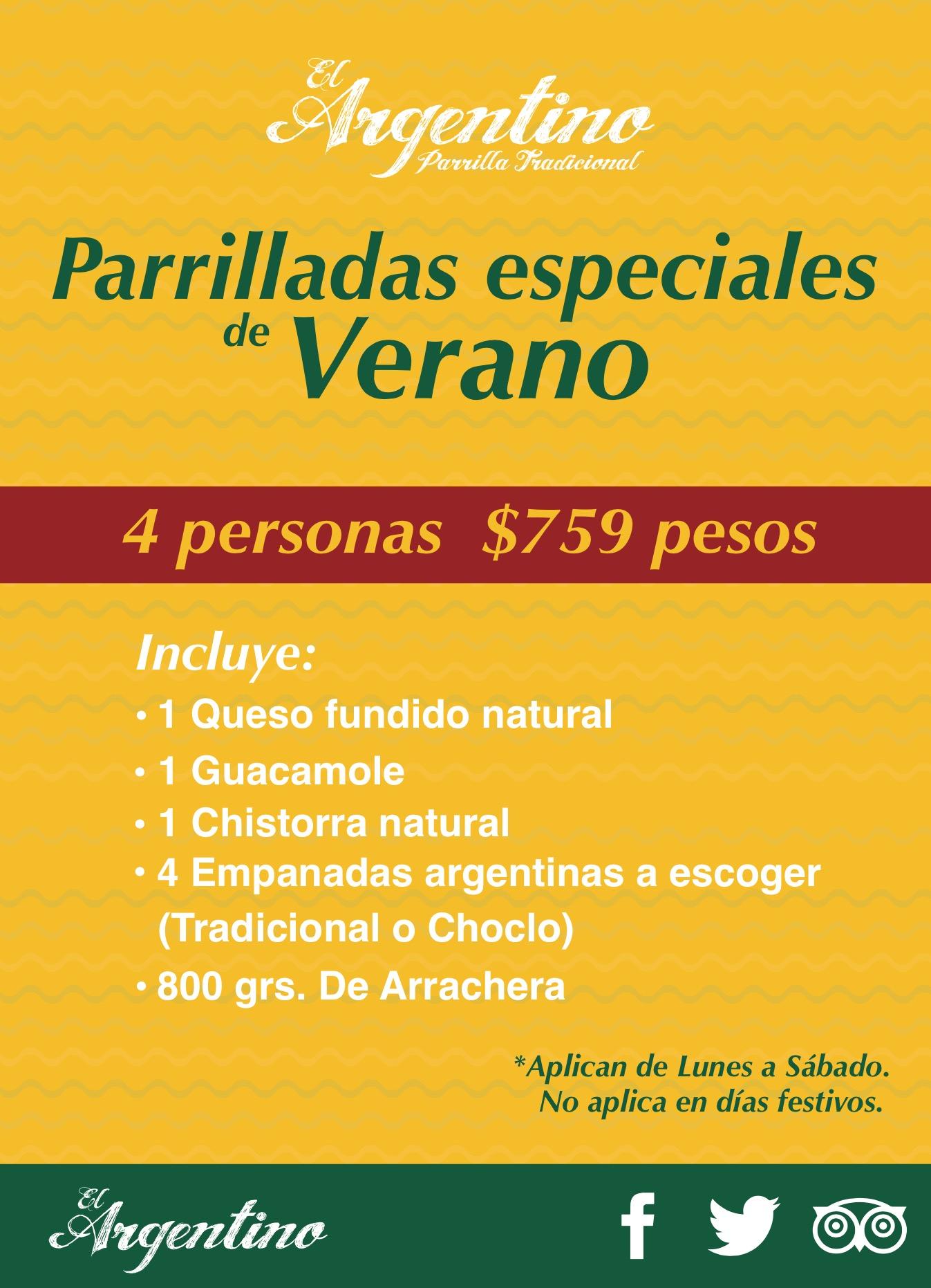 PARRILLADAS DE VERANO 4personas